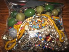 Vintage Mixed Jewelry Lot Rhinestone Bracelets Earrings Pins Necklaces Beads  #8