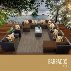 TKC Barbados 17 Piece Outdoor Wicker Patio Furniture Set <3 Click the image to visit the Amazon website
