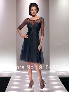 New Arrival Beaded Appliqued Dark Navy Chiffon Knee Length Mother of the Bride Short Dress with Sleeves MC033 $129.36