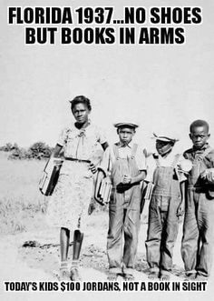 Children in Dade County, Florida walking to school,1937 No shoes on their feet, but books in their arms.