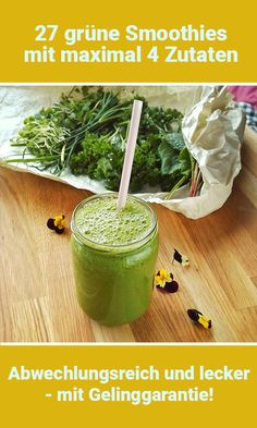 Einfach und gut: 27 grüne Smoothies ohne Schnickschnack 27 recipes for green smoothies with a maximum of four ingredients Simple detox salad! Smoothie Legume, Smoothie Fruit, Smoothie Detox, Mango Smoothies, Apple Smoothies, Green Smoothie Recipes, Healthy Smoothies, Smoothies Verts, Breakfast Smoothies