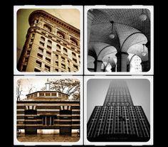 New York Architecture Ceramic Coaster. HouseofSixCats. Etsy. Photo coasters.