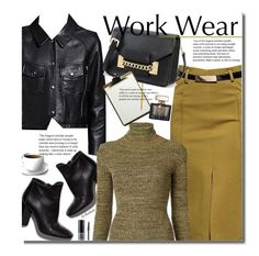 """Work Wear"" by beebeely-look ❤ liked on Polyvore featuring Pierre Hardy, Apiece Apart, Gucci, Christian Dior, WorkWear, skirt, leatherjacket, officewear and dezzal"