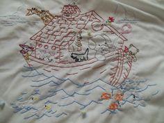 Noahs Ark Vintage Baby Blanket by CrownBAntiques on Etsy, $25.00