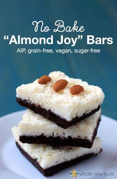 "Got a sweet tooth but trying to eat healthier? These No Bake Dessert Low Carb ""Almond Joy"" Bars are soooo good - even non healthy eaters love them. Every time I make them they are gone lickety split and they're full of healthful ingredients like coconut oil, nut or seed butters, and more. These bars are sugar-free, gluten-free, grain-free, egg-free, dairy-free, autoimmune protocol/AIP friendly, and more!"