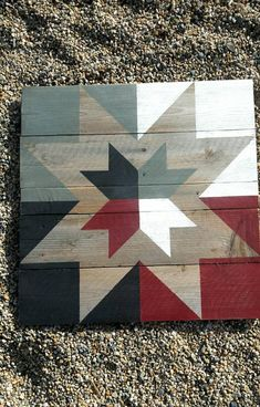 Rustic Barn Quilt: black gray white and red image 0 Barn Quilt Designs, Barn Quilt Patterns, Quilting Designs, Rustic Barn, Barn Wood, Pallet Barn, Rustic White, Rustic Wood, Fun Craft