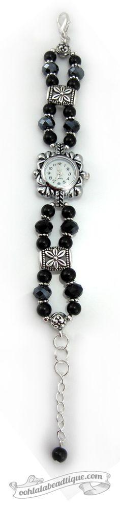 Black crystal watch, black wrist watch, bracelet watch, bead watch, onyx watch…