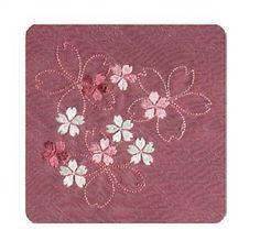 Japanese FUROSHIKI Traditional Wrapping TETORON Tsumugishoku emherrbroidery Cherry tree/Purple [japan import ]