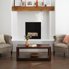 Marble Fireplace Surround, White Fireplace, Fireplace Surrounds, Fireplace Design, Fireplace Mantels, Tiled Fireplace Wall, Fireplace Ideas, Tile Around Fireplace, Fireplace Feature Wall