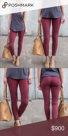 🆕Sexy Curvaceous Sized Moto Jeggings Coming Soon If you want to be notified when available click like. These will be priced at $44 select sizes coded as 1X/2X or 2X/3X. Burgundy color. Aluna Levi Pants Leggings