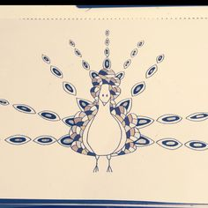 Illustration Number 3 - My Final Merchandise Design :)   #Peacock #Bird #Unique #Doodle #Zentangle #Create #Lines #Pen #Marker #Gold #Silver #Draw #Design #FinallyDone #Finish