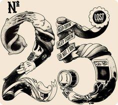 Illustration by mc bess (Matthieu Bessudo). Typography Love, Typography Letters, Number Typography, Modern Graphic Design, Graphic Design Inspiration, Illustrations, Illustration Art, Mc Bess, Inspiration Typographie