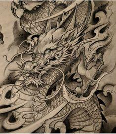 Dragon Tattoo Colour, Dragon Tattoo Drawing, Dragon Tattoo Back Piece, Chinese Dragon Drawing, Japanese Dragon Tattoos, Japanese Sleeve Tattoos, Japanese Tiger Tattoo, Japanese Tattoo Designs, Dragon Tattoos For Men