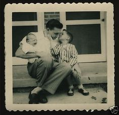 Happy Father's Day :) Dad w Crying Baby and Older Son Giving Him Kiss 1950 Photo