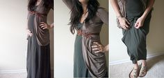 I never thought about wearing a dress with a cardigan and waist belt stylish-maternity-outfits