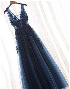 2018 Fashion Navy Blue Prom Dress,Sexy Deep V-Neck Party Dress,Appliques Evening Dress,A-Line Beading Pageant Dress