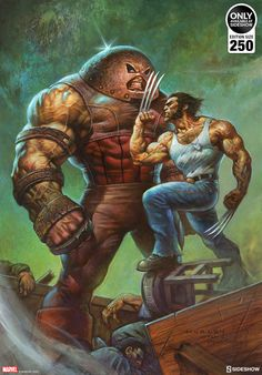 'Juggernaut vs Wolverine' by Alex Horley, a new officially licensed print release through Sideshow Collectibles. Marvel Wolverine, Hq Marvel, Marvel Heroes, Wolverine Images, Logan Wolverine, Arte Dc Comics, Marvel Comics Art, Comic Books Art, Comic Art
