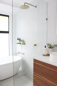 Bathroom Design Inspiration, Decor Inspiration, Bathroom Interior Design, Home Interior, Bathroom Designs, Bathroom Tapware, Bathroom Flooring, Tile On Bathroom Wall, Brass Bathroom Fixtures