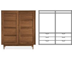 Room & Board - Grove Anywhere Armoire with Double Short Wardrobes & 6 Drawers