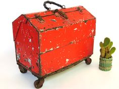 Antique Orange Steel Machinist Toolbox: Large 4 Drawer Heavy Duty Metal Hardware…