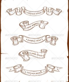 Banners for your design. Dirty old school hand drawn illustration. ALL TEXT IS CURVE ! Another Vectors Isolated Objects Design Elements Food and Drink Sports Techn Tattoo Banner, Vintage Banner, Text Tattoo, Ribbon Tattoos, Ribbon Banner, Arabesque, Free Vector Graphics, Banners, Filofax