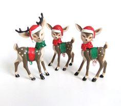 Christmas Reindeer Figurines Retro Vintage by VintageByJade