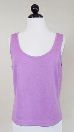ST. JOHN Lavender Purple Sleeveless Santana Knit Tank Shell Top Size M #StJohn #KnitTop #Career
