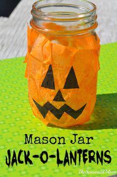 Mason Jar Jack-O-Lanterns: easy Halloween craft for kids!