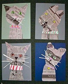 Collage cats in the style of Denise Fiedler, vintage artist. A link to Fiedler's. - Collage cats in the style of Denise Fiedler, vintage artist. A link to Fiedler's own website is o - School Art Projects, Projects For Kids, Art Education Projects, Craft Projects, Journal D'art, Classe D'art, Newspaper Crafts, Newspaper Collage, Recycle Newspaper
