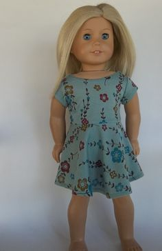 18 in doll clothes SKATER DRESS Short Sleeves by GoodGollyMsDolly