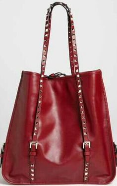 Valentino 'Rockstud' Leather Shopper Tote/ What a fun purse. Mk Handbags, Handbags Michael Kors, Michael Kors Bag, Purses And Handbags, Stylish Handbags, Shopper Tote, Tote Bag, Satchel, Duffle Bags