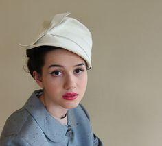 bc6d6490af6 RESERVED Vintage 1960s Beige Wool Hat Asymmetrical Sash