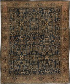 Antique Rug Persian Carpet with floral ornaments. Interior living room decor with 20th century antique rugs hand knotted wool #rug #interior #decor #antiquerug #carpet