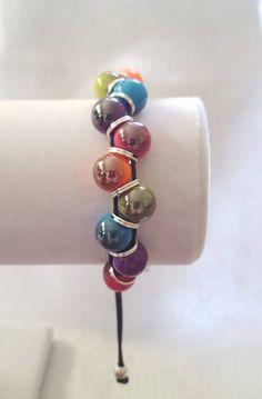 Funky Multi Coloured Beaded Bracelet, Adjustable bracelet, Extendable bracelet. by CraftyGiftsIE on Etsy https://www.etsy.com/ie/listing/596138033/funky-multi-coloured-beaded-bracelet