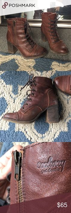 """Adorable Spanish Leather Boots Beautiful mahogany brown Spanish Leather, 2.5"""" heel, lace up and zip up. Size 37 but fits like a 6. A perfect match to any outfit! Coolway Shoes Ankle Boots & Booties"""