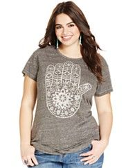 Lucky Brand Plus Size Hand-Graphic Keyhole Tee