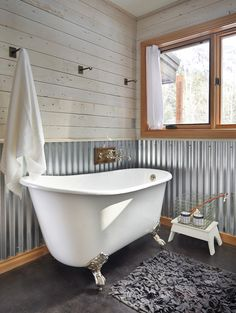 punched tin panels Bathroom Farmhouse with chair rail clawfoot tub freestanding tub galvanized aluminum loofah