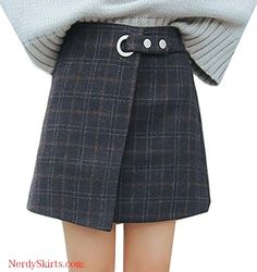 Details about  /Trendy Gray Teal Plaid School Girl Circle Skater Mini Skirt steampunk grunge new