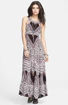 Free People 'You Made My Day' Print Cutout Maxi Dress available at #Nordstrom