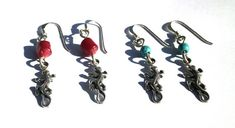 Silver Earrings Lizard Earrings Turquoise Earrings Coral