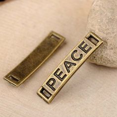 50 pcs alloy Peace words connectors DIY jewelry findings  28x6mm by RiverCraftSupplies on Etsy