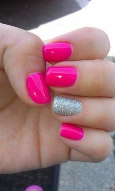 Hot Pink Nail Polish with Silver Accent Hot Pink Nails with a Silver Accent, what a great looking manicure! The hot pink nail polish color looks so good on her finger nails. The pink color is very . Hot Pink Nails, Pink Nail Art, Fancy Nails, Love Nails, Trendy Nails, My Nails, Pink Summer Nails, Spring Nails, Sparkle Nails