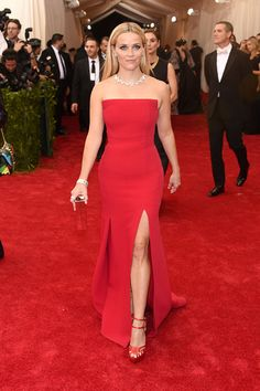 Reese Witherspoon in a strapless red dress at the Met Gala 2015