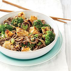 Sweet Sesame Noodles with Chicken and Broccoli | MyRecipes.com so nummy. best easiest peanut sauce!