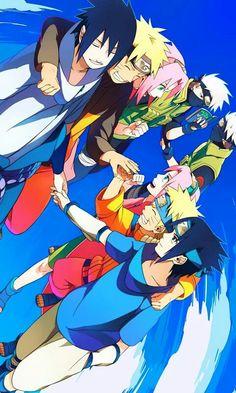 Naruto: Sasuke (young and teenage age), Naruto (young and teenage age), Sakura (young and teenage age), and Kakashi-sensei (younger and older age (?))