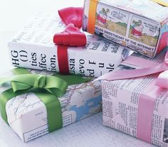 Think outside of the (gift) box when it comes to wrapping. Paper of any kind―wallpaper, old maps, Sunday comics―will do.