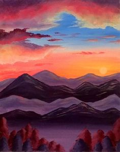 Join us for a Paint Nite event Thu Sep 2014 at 75 Victoria St Toronto, ON. Purchase your tickets online to reserve a fun night out! Acrylic Painting Tutorials, Acrylic Painting Canvas, Canvas Paintings, Wine Painting, Painting & Drawing, Purple Mountain Majesty, Let's Make Art, Paint And Sip, Mountain Paintings