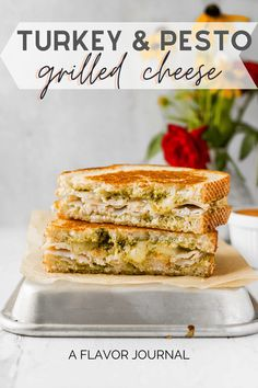 This turkey & Pesto Grilled Cheese is an easy, delicious grilled cheese recipe with pesto, deli turkey, Monterey Jack, and mozzarella cheese! via @aflavorjournal One Pan Dinner Recipes, Dinner Casserole Recipes, Instant Pot Dinner Recipes, Beef Recipes For Dinner, Pesto Grilled Cheeses, Grilled Cheese Recipes, Best Sandwich Recipes, Sandwich Ideas, Burger Recipes