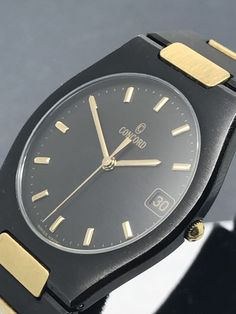 Concord Watch Vintage Two Tone Black & Yellow Gold Swiss Quartz Date 15.78.213 A #Concord