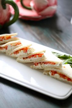 """Tomato Feta Tea Sandwiches are light and simple. And require no cooking whatsoever. MADE Simple and delicious! I used regular wheat bread and it still was just fine, albeit not """"official"""" tea sandwiches :) Tea Sandwiches, Finger Sandwiches, Light Sandwiches, Tea Recipes, Cooking Recipes, Tea Sandwich Recipes, Picnic Recipes, Cooking Tips, Healthy Recipes"""